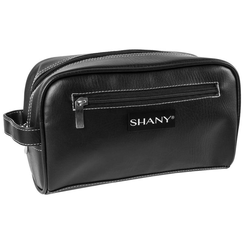SHANY Travel Toiletry Bag and Dopp Kit – Zippered Faux Leather Grooming Organizer with Three Nylon-lined Pockets – Black - SHOP  - TRAVEL BAGS - ITEM# SH-NT1004-BK