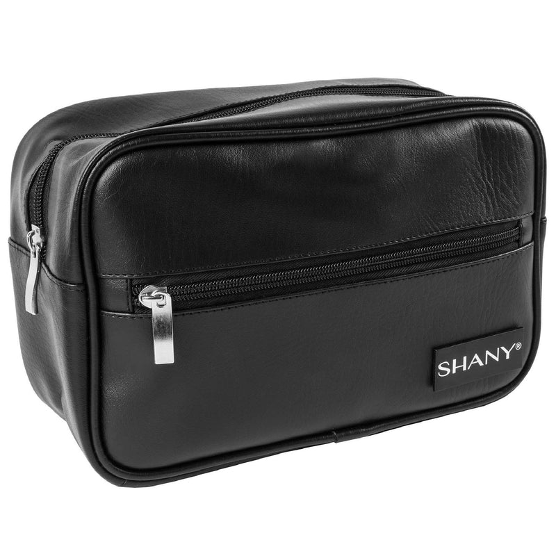 SHANY Dopp Kit and Travel Toiletry Bag – Zippered Faux Leather Grooming Organizer with 2 Internal and 1 External Pockets – BLACK - SHOP  - TRAVEL BAGS - ITEM# SH-NT1005-BK
