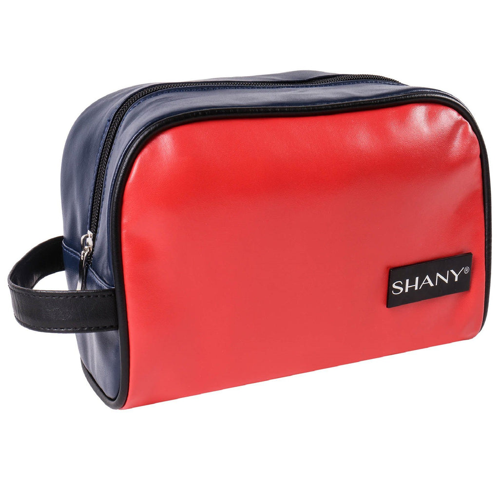 SHANY Grooming Bag and Travel Toiletry Tote – Zippered Faux Leather Organizer with Three Pockets – NAVY/RED - SHOP  - TRAVEL BAGS - ITEM# SH-NT1006-TM