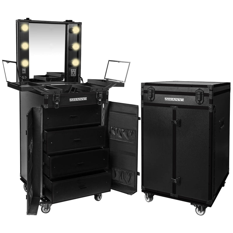 SHANY Light-Up Makeup Mirror Station and Storage - Rolling Cosmetics Case with Multiple Compartments with Light Bulbs Included - BLACK - SHOP JET BLACK - ROLLING MAKEUP CASES - ITEM# SH-P700-BK