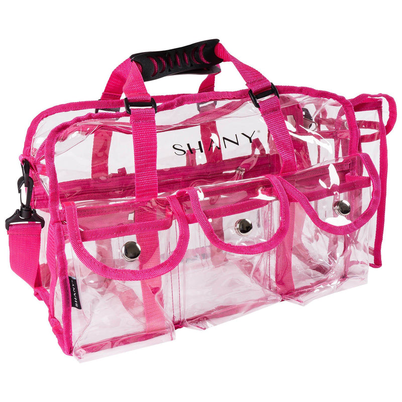 SHANY Clear PVC Makeup Bag - Large Professional Makeup Artist Rectangular Tote with Shoulder Strap and 5 External Pockets - PINK - SHOP PINK - TRAVEL BAGS - ITEM# SH-PC01PK