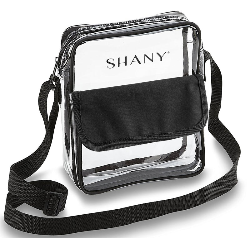 SHANY Clear All-Purpose Cross-Body Messenger Bag – Stadium Approved Tote and Makeup Carrier with Adjustable Shoulder Strap - SHOP  - TRAVEL BAGS - ITEM# SH-PC12-BK