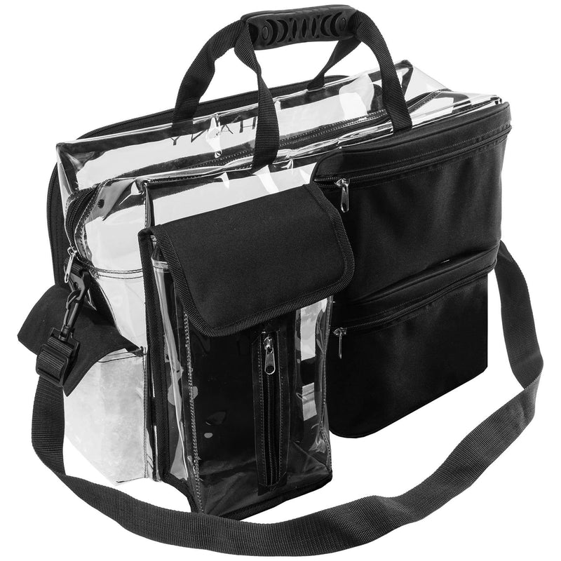 SHANY Travel Makeup Artist Bag with Removable Compartments – Clear Tote bag with Detachable Pockets – Makeup Organizer - Clear/Black - SHOP  - TRAVEL BAGS - ITEM# SH-PC13-BK