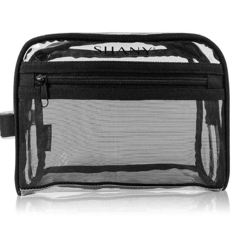 SHANY Clear Toiletry and Makeup Bag with Plastic Mesh Pocket – Medium Nontoxic Travel Organizer with Handle – Black Mesh - SHOP  - TRAVEL BAGS - ITEM# SH-PC19-BK