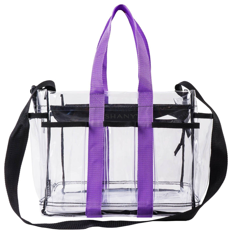 SHANY Clear Makeup Organizer and Travel Caddy – Multiple Pockets - Large, Nontoxic Plastic Tote with Black Shoulder Strap and Purple Handles - SHOP  - TRAVEL BAGS - ITEM# SH-PC20-BK