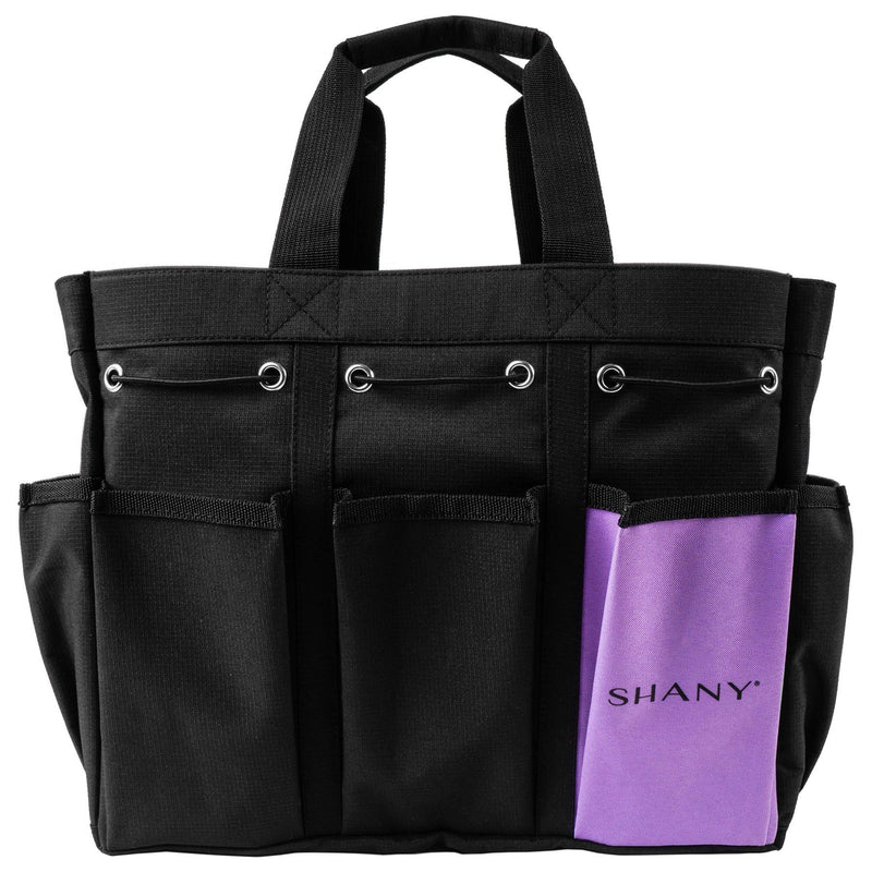 SHANY Beauty Handbag and Makeup Organizer Bag – Large Two-Tone Travel Tote with 2 Handles and 8 External Pockets – Black Canvas - SHOP  - MESH BAGS - ITEM# SH-PC21-BK