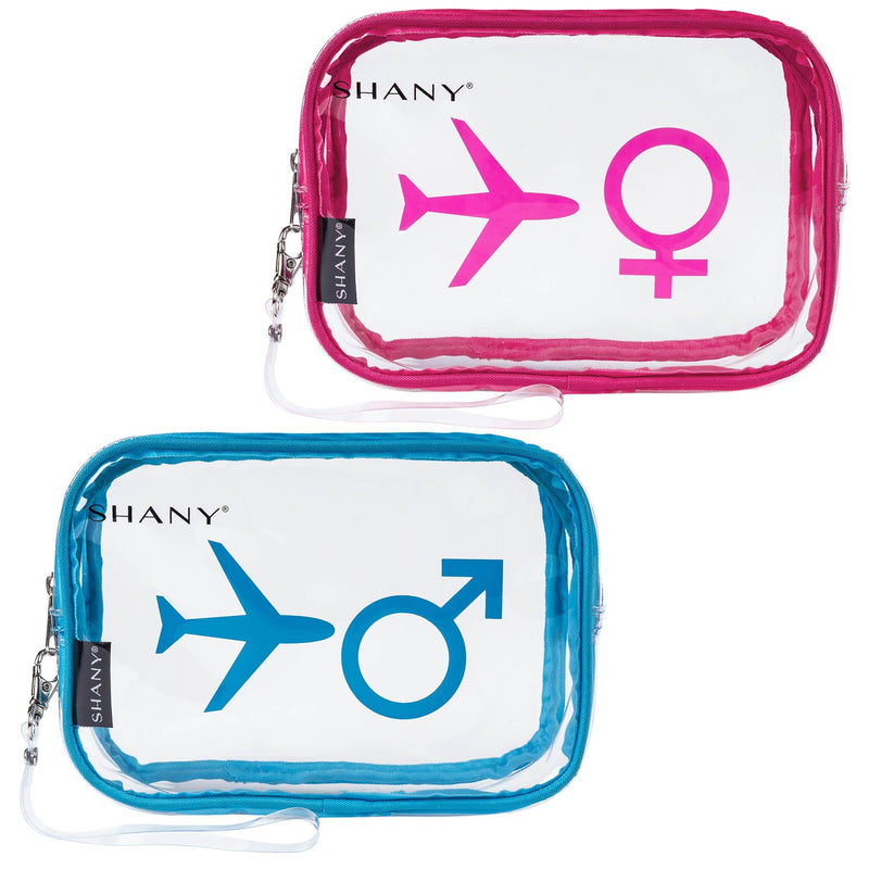 SHANY His & Hers TSA Approved Airline Friendly Clear Carry-on Toiletry Travel Bags & Personal Organizer -  Water-resistant - Set of 2 For Couples - SHOP  - TRAVEL BAGS - ITEM# SH-PC26-BLPK