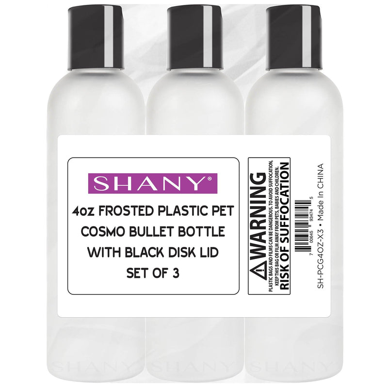 SHANY Frosted Travel-ready Bottle 4-ounce Set of 3 - 3 x 4 OZ - ITEM# SH-PCG4OZ-X3 - Refillable cosmetic containers empty clear spray,Travel size bottle hair beauty leak proof perfume,Empty clear spray refillable travel size bottles,Lotion cream squeezable conditioner portable set,Liquid mini softsoap makeup oil small smart jar - UPC# 700645934745