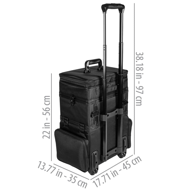 SHANY Large Travel Makeup Trolley Case - BLACK -  - ITEM# SH-P30-BK - Rolling cosmetics cases Makeup Case with wheels,Cosmetics trolley makeup artist case storage bag,Seya just case aluminum makeup case display set,professional makeup organizer gift idea Makeup bag,portable makeup carry on cosmetics organizer light - UPC# 616450438661