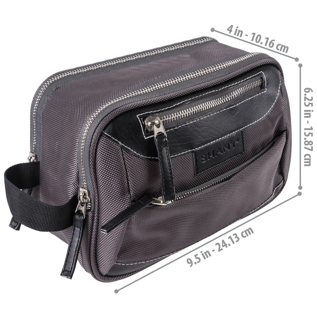 SHANY Portable Toiletry Bag and Organizer -  - ITEM# SH-NT1001-GY - mens toiletry travel bag Canvas Vintage Dopp Kit,Travel makeup women girls train case box storage,Shaving Grooming bag storage bag toiletry bag TSA,Portable Shaving Bag gift for men him father son,Large small hanging compartment professional kits - UPC# 700645941767