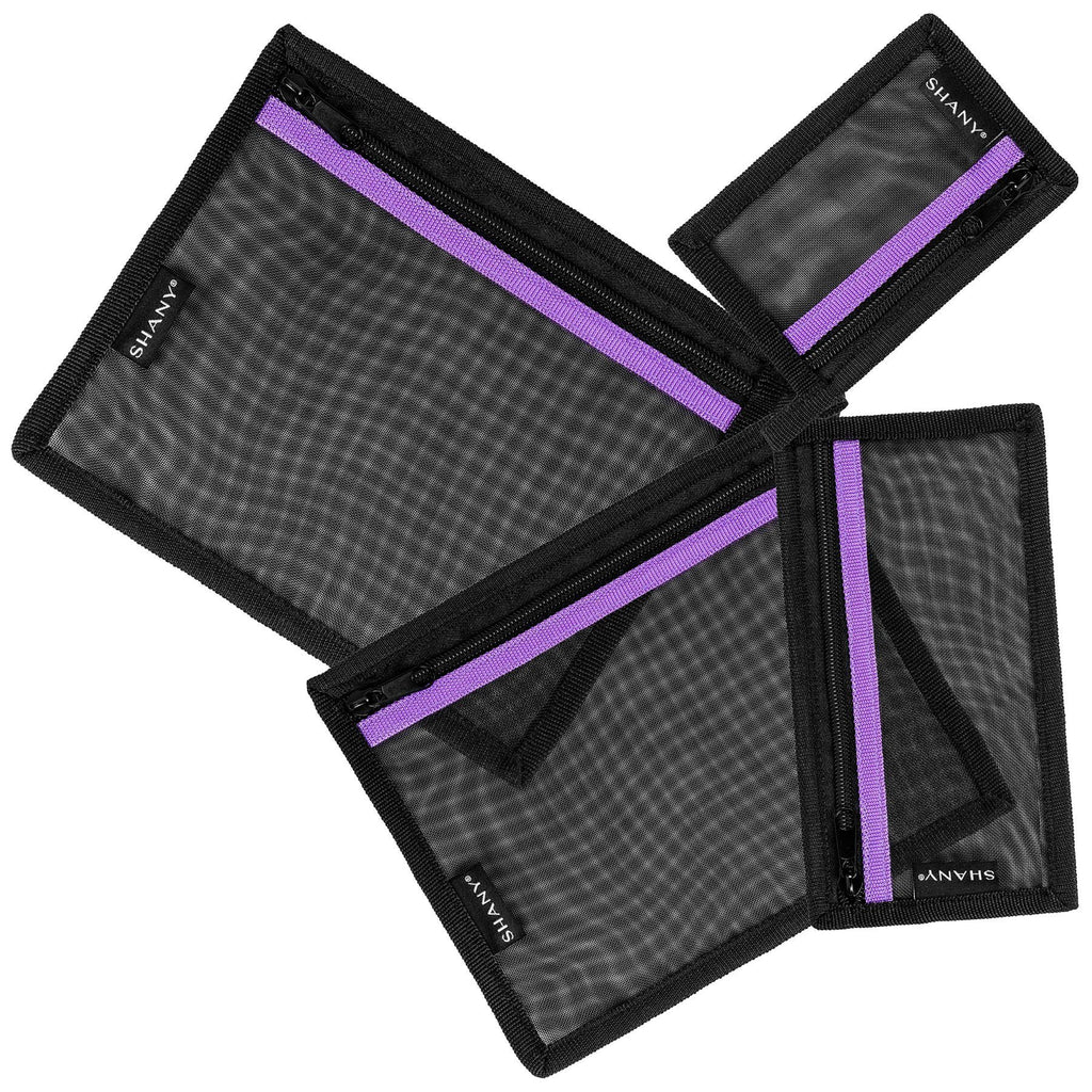 SHANY 4-in-1 Mesh Travel Toiletry and Makeup Bag Set - Assorted Sizes Cosmetic Organizers with Attaching Loops and Purple Accent - SHOP  - MESH BAGS - ITEM# SH-MB400-BK