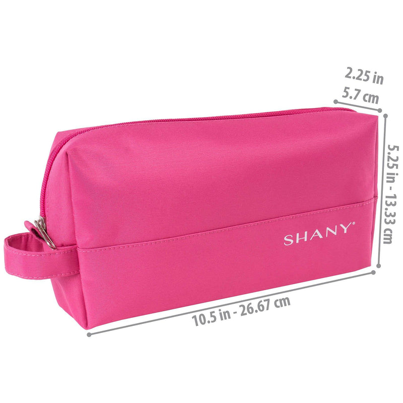 SHANY Nylon Zippered Toiletry Bag - PINK -  - ITEM# SH-NT1008-PK - Makeup toiletry bag cosmetic organizer pouch purse,Travel makeup women girls train case box storage,Kate spade victorias secret hello kitty lesportsac,Container handbag gadget zipper portable luggage,Large small hanging compartment professional kits - UPC# 700645933779