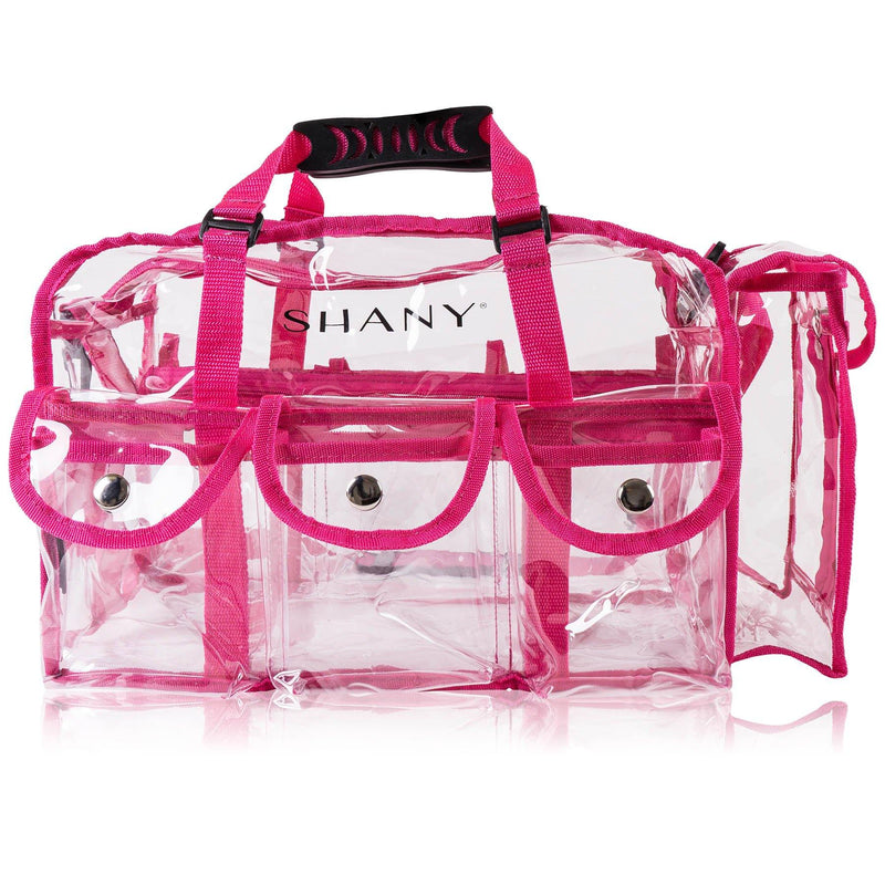 SHANY Clear Makeup Bag with Shoulder Strap - PINK - PINK - ITEM# SH-PC01PK - Clear travel makeup cosmetic bags carry Toiletry,PVC Cosmetic tote bag Organizer stadium clear bag,travel packing transparent space saver bags gift,Travel Carry On Airport Airline Compliant Bag,TSA approved Toiletries Cosmetic Pouch Makeup Bags - UPC# 700645941880