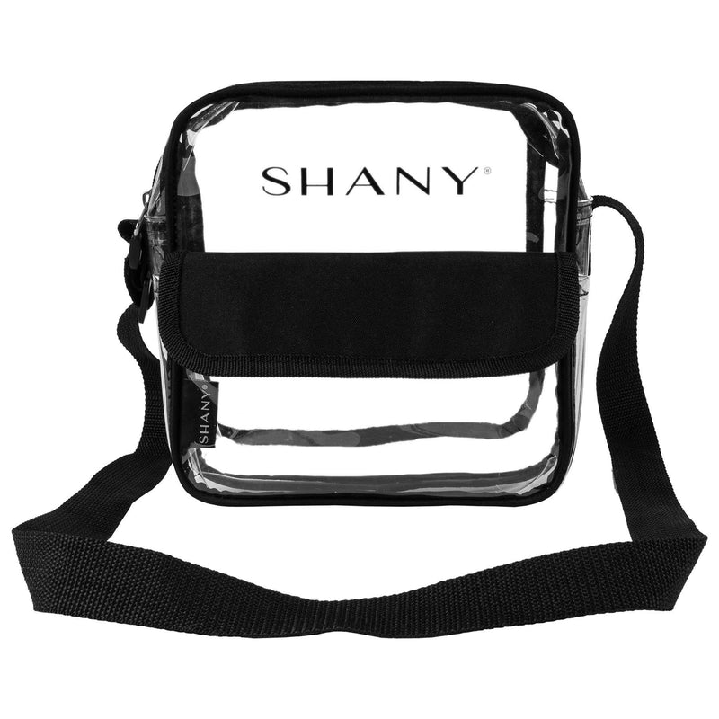 SHANY Clear All-Purpose Cross-Body Messenger Bag -  - ITEM# SH-PC12-BK - Clear travel makeup cosmetic bags carry Toiletry,PVC Cosmetic tote bag Organizer stadium clear bag,travel packing transparent space saver bags gift,Travel Carry On Airport Airline Compliant Bag,TSA approved Toiletries Cosmetic Pouch Makeup Bags - UPC# 700645941750