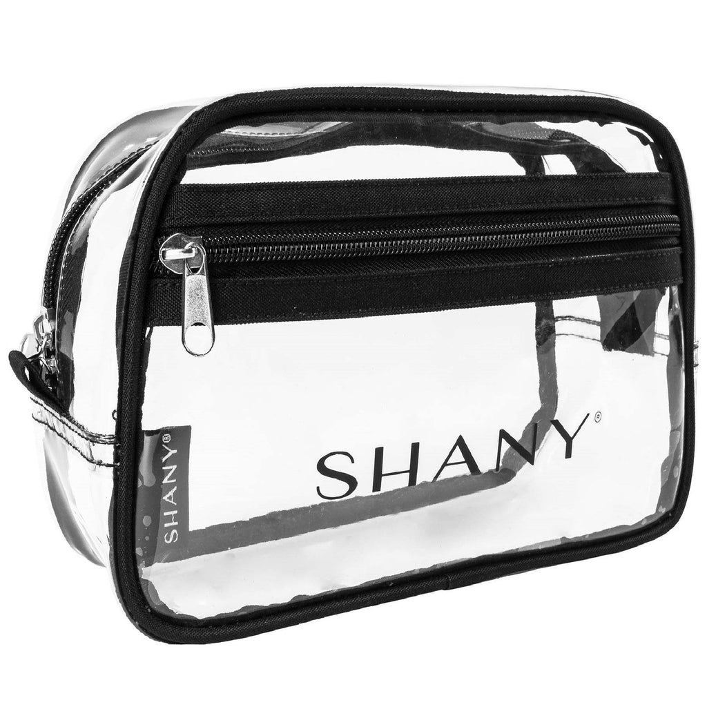 SHANY Clear Toiletry Makeup Pouch -  - ITEM# SH-PC18-BK - Clear travel makeup cosmetic bags carry Toiletry,PVC Cosmetic tote bag Organizer stadium clear bag,travel packing transparent space saver bags gift,Travel Carry On Airport Airline Compliant Bag,TSA approved Toiletries Cosmetic Pouch Makeup Bags - UPC# 700645941835