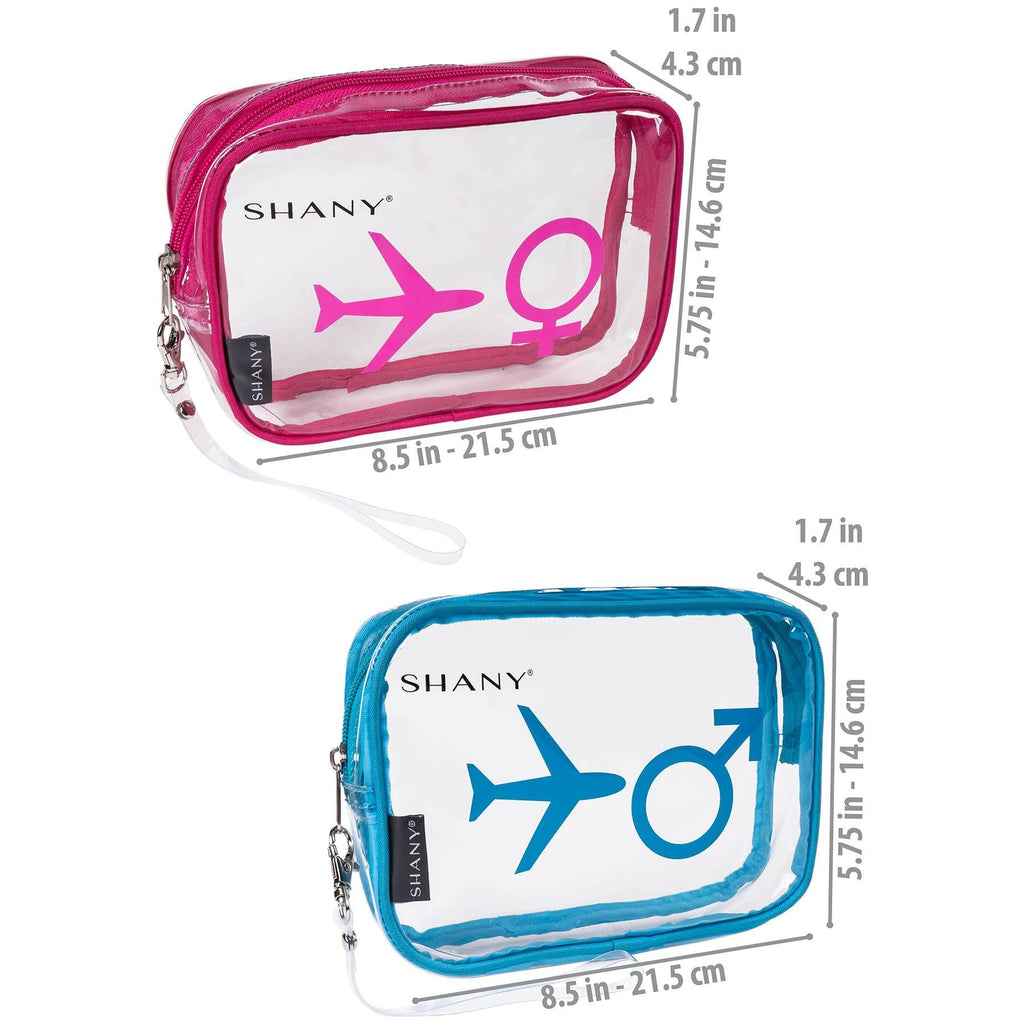 SHANY His & Hers Clear Carry-on Bags Set of 2 -  - ITEM# SH-PC26-BLPK - Clear cosmetic bags travel waterproof makeup carry,Toiletry stationery zipper large organizer durable,Victoria secret dooney guess women purse small kit,Personal transparent pvc portable pouch storage,Shampoo bathroom toothbrush caddy container case - UPC# 700645933892