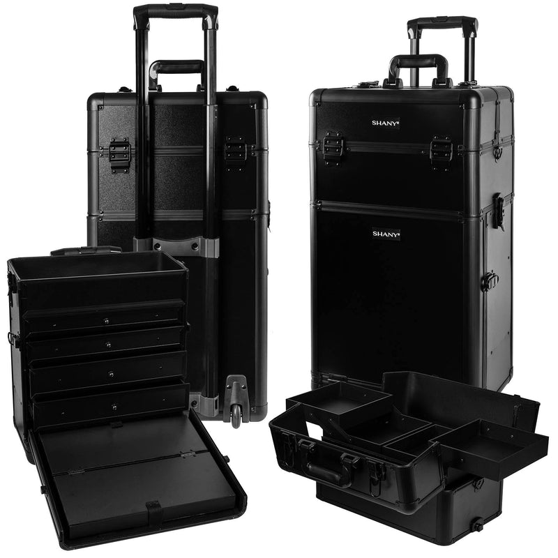 SHANY Rebel Trolley Makeup Case - BLACK -  - ITEM# SH-REBEL-NL-BK - Rolling cosmetics cases Makeup Case with wheels,Cosmetics trolley makeup artist case storage bag,Seya just case aluminum makeup case display set,professional makeup organizer gift idea Makeup bag,portable makeup carry on cosmetics organizer light - UPC# 700645933977