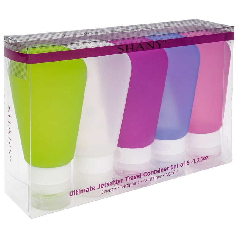 -  - ITEM# SH-TUBE-PARENT - The SHANY Ultimate Jetsetter Travel Container Set contains five refillable bottles made from a soft silicone, which makes each bottle flexible for use and travel. The tripled-sealed bottles are squeezable, which helps to get the maximum amount of product out. To refill each bottle, careful