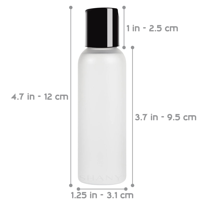 SHANY Frosted Travel-ready Cosmo Bullet Bottle with Black Lid 2-ounce Set of 6 - 6 x 2 OZ - ITEM# SH-PCG2OZ-X6 - Here at SHANY, we give you high-quality products without the heavy price tag. Our Cosmo Bullet Bottle Set of 6 is made from top-grade quality plastics and is BPA-free. In addition to the durable frosted-pla