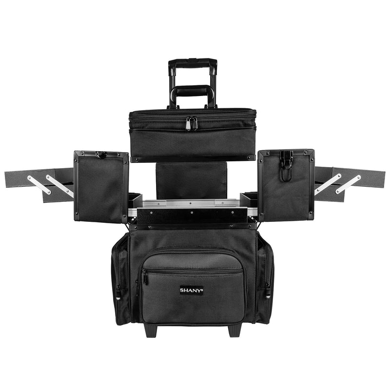 SHANY Large Travel Makeup Trolley Storage Case with Multi Compartments - BLACK -  - ITEM# SH-P30-BK - The SHANY Large Travel Makeup Trolley Storage Case with detachable sections and multiple compartments. Made from durable fabric and sturdy hardware. This traveling makeup case measures at 18 x 14 x 22 inches. The long