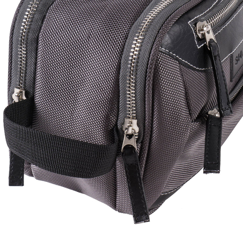 SHANY Portable Toiletry Bag and Water-resistant Travel Organizer - Galactic Gray -  - ITEM# SH-NT1001-GY - SHANY Cosmetics' Makeup Purse Organizer in Brown Mesh is unisex but can double as a handbag, with 2 sections, 3 pockets and 1 divided inner pouch. Zippers prevent spillage, while wrist strap makes the organiz