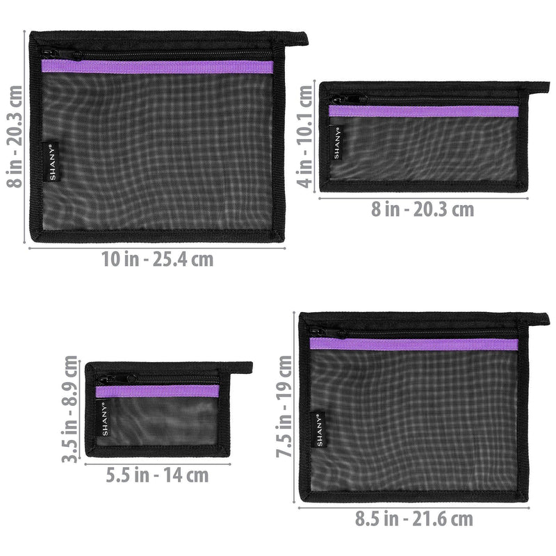 SHANY 4-in-1 Mesh Travel Toiletry and Makeup Bag Set with Attaching Loops -  - ITEM# SH-MB400-BK - The SHANY 4-in-1 Mesh Travel Makeup Bag Set are a set of versatile and durable cosmetic bags, perfect for traveling or makeup storage. Made from mesh, these organizers are lightweight and protect items, making them easy