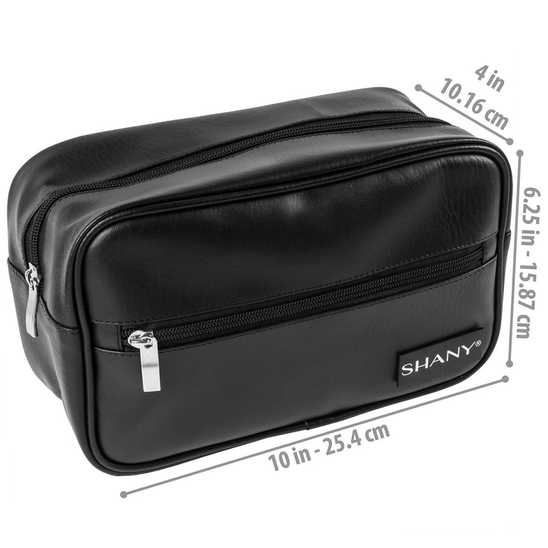 SHANY Dopp Kit and Travel Toiletry Bag with Zippered Faux Leather in BLACK -  - ITEM# SH-NT1005-BK - The SHANY Travel Toiletry Bag in BLACK brings style to your travel needs. The red mesh inner lining and brushed steel zippers make this bag a timeless and affordable gift for men or women. At 10 x 6 x 4 in., the faux l