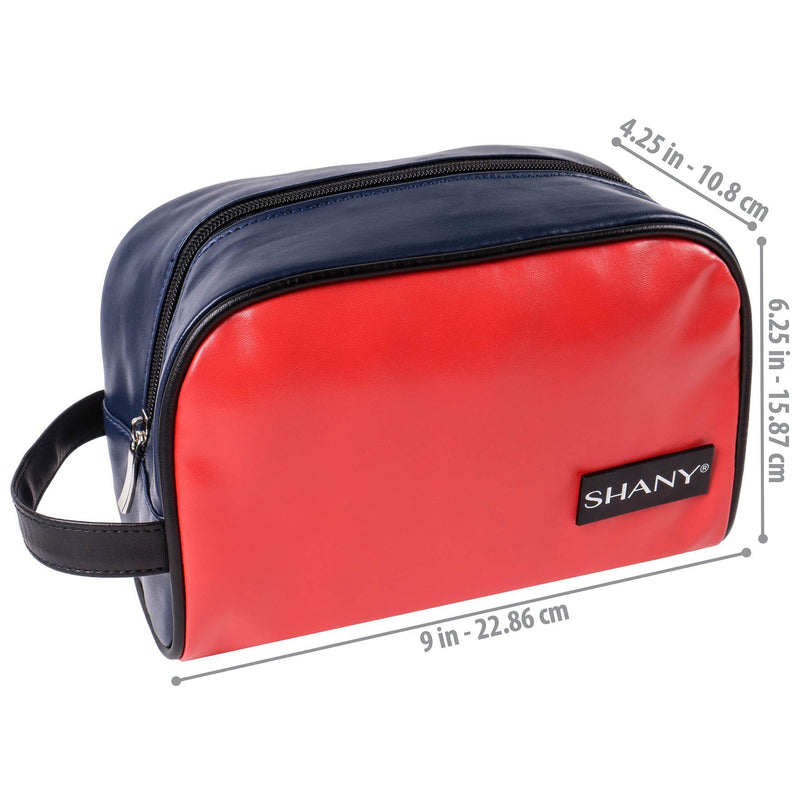 SHANY Grooming Bag and Travel Toiletry Tote in Faux Leather – NAVY/RED -  - ITEM# SH-NT1006-TM - From SHANY's new travel bag line, the Grooming Bag and Travel Toiletry Tote brings classic style to your travel needs. The navy blue and posh red exterior combined with the brushed steel zipper make this bag a timeless