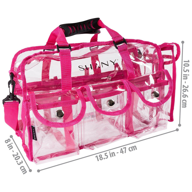 SHANY Clear PVC Makeup Bag - Large Rectangular Tote with Shoulder Strap - PINK - PINK - ITEM# SH-PC01PK - This bag is designed to carry all that the professional makeup artist and hair stylist tools while on the set. This bag is a clear design for fast and easy accessibility. Convenient flip top pockets, spacious comp