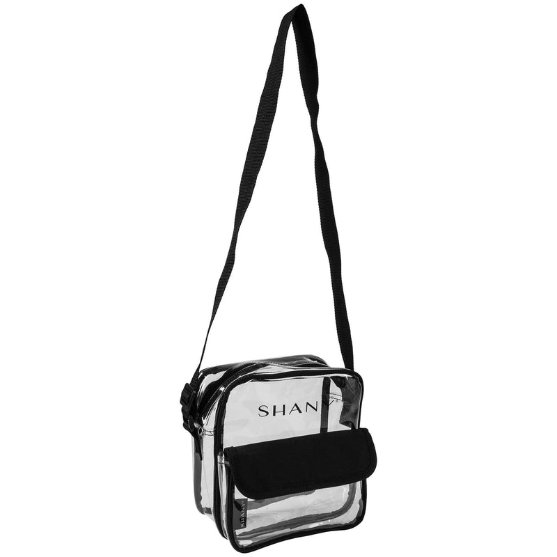 SHANY Clear All-Purpose Cross-Body Messenger Bag with Adjustable Strap -  - ITEM# SH-PC12-BK - Part of SHANY's new line of travel bags, the Clear All-Purpose Cross-Body Messenger Bag is practical, lightweight, and stylish. This tote is ideal for carrying cosmetics and toiletries, wherever you go! Made with a clear