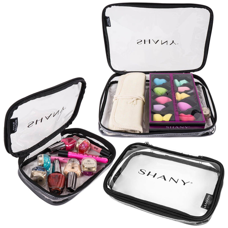 SHANY Travel Makeup Artist Organizer Set of 3 Clear Bags – Triple Tote -  - ITEM# SH-PC15-BK - From SHANY's new travel line, the Triple Tote Makeup Artist Bag Set is a 3-piece collection of clear organizers. With small, medium, and large bags, the set is a go-to for any travelling beauty professional. Made with a see-