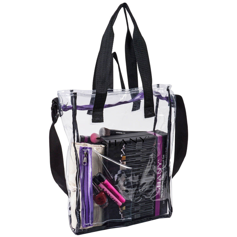 SHANY Clear Toiletry and Makeup Carry-On Travel Bag with Multiple Handles -  - ITEM# SH-PC17-BK - Part of SHANY's new line of travel bags, the Clear Toiletry and Makeup Carry-On Travel Bag is a zipper-topped tote ideal for makeup professionals. At 15 x 11.5 x 4 in, the bag is ample enough to fit full-size hair too