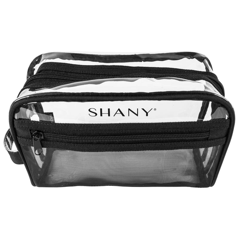 SHANY Clear Toiletry Makeup Bag and Nontoxic Travel Organizer – Black Mesh -  - ITEM# SH-PC19-BK - The SHANY Clear Toiletry and Makeup Bag and Organizer is a clear pouch with mesh outer pockets. Made from nontoxic PVC plastic, this makeup bag makes it easy for you to store and spot your belongings. Because the materia