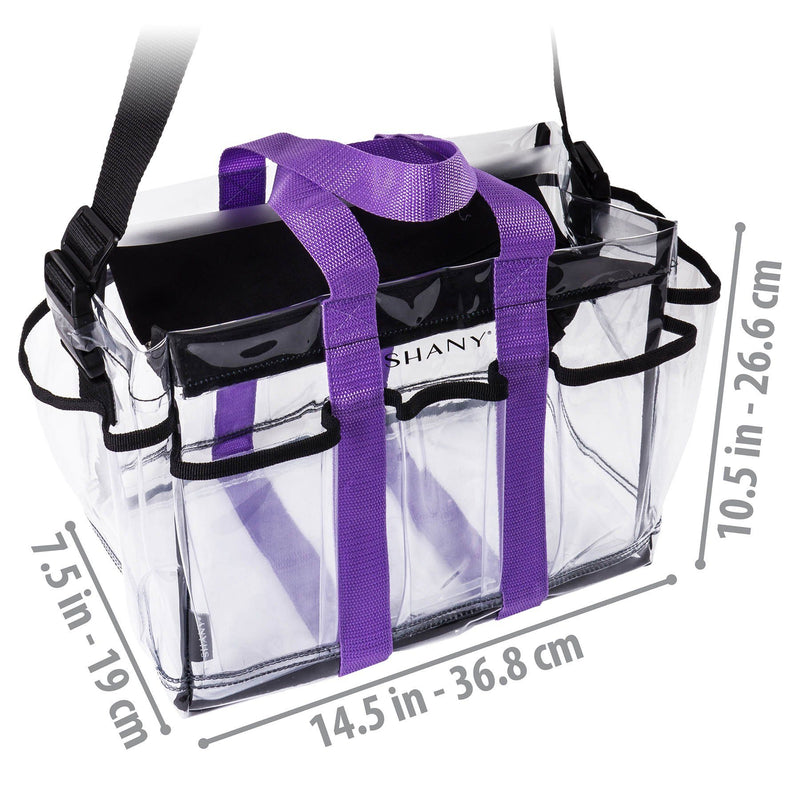 SHANY Clear Makeup Organizer and Travel Caddy with Straps and Multiple Pockets -  - ITEM# SH-PC20-BK - Part of SHANY's new line of travel bags, the Clear Makeup Organizer and Travel Caddy is a zipper-topped tote ideal for beauty professionals. It's spacious enough to carry full-size hair tools, entire makeup palettes,
