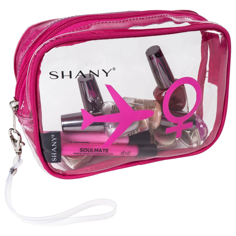 SHANY TSA Approved Airline Clear Carry-on Bags Set Of 2 - Cosmetics organzier -  - ITEM# SH-PC26-BLPK - SHANY transparent PVC zippered travel bags are water-resistant and quart-sized, making them perfect to carry liquids as well as beauty and grooming products aboard flights, as well as medications, snacks, makeup bru