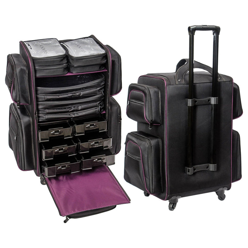 SHANY Total Jetsetter Travel Makeup Bag - BLACK -  - ITEM# SH-P90-BK - Best seller in cosmetics ROLLING MAKEUP CASES category