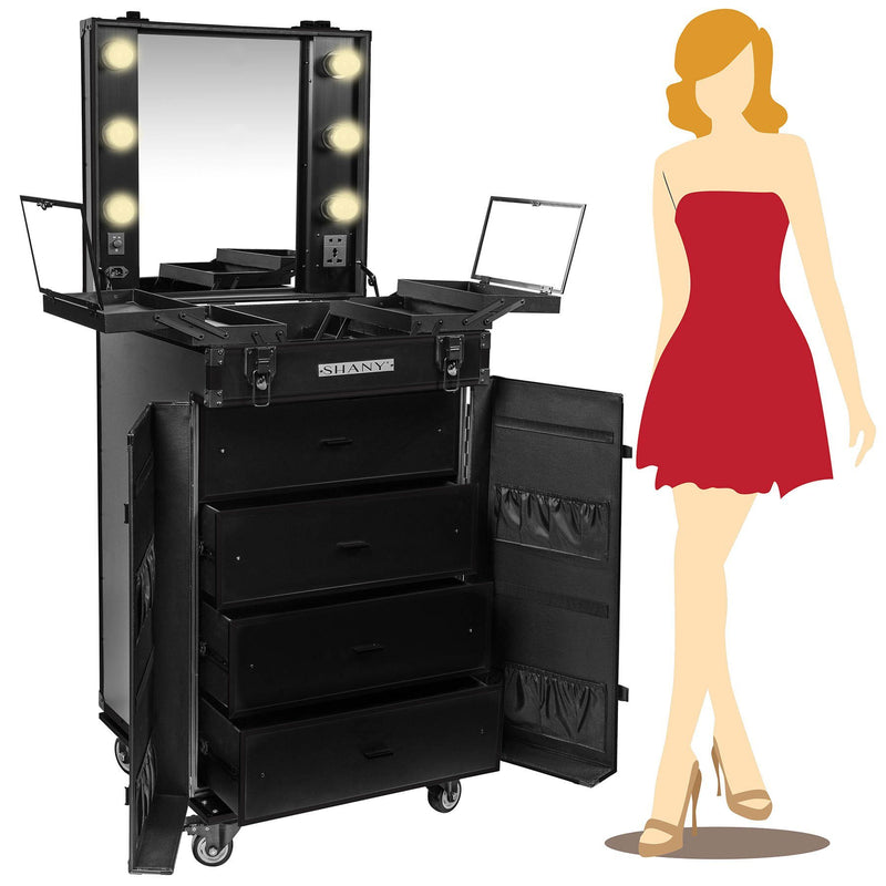 SHANY Light-Up Makeup Mirror Station - BLACK - JET BLACK - ITEM# SH-P700-BK - Best seller in cosmetics ROLLING MAKEUP CASES category