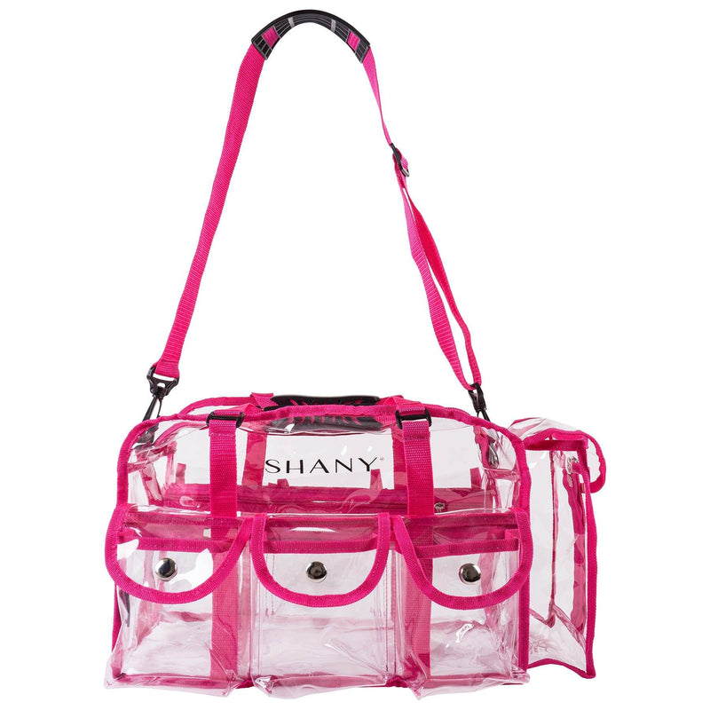 SHANY Clear Makeup Bag with Shoulder Strap - PINK - PINK - ITEM# SH-PC01PK - Best seller in cosmetics TRAVEL BAGS category