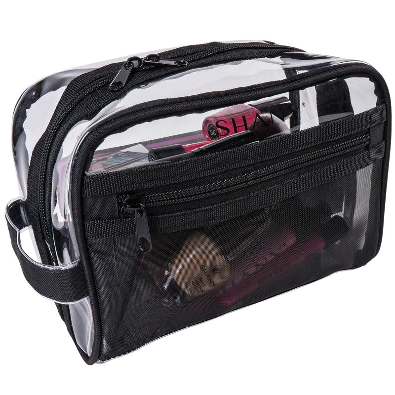 SHANY Clear Toiletry Makeup Bag - Black Mesh -  - ITEM# SH-PC19-BK - Best seller in cosmetics TRAVEL BAGS category