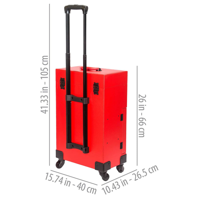 SHANY Large Travel Makeup Case with Mirror - RED