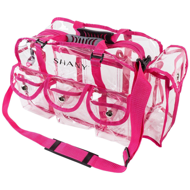 SHANY Clear Makeup Bag with Shoulder Strap - PINK