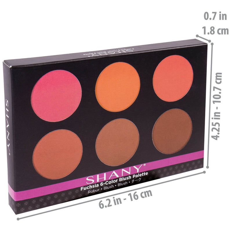 SHANY Fuchsia 6 Blush Palette - Compact -  - ITEM# SHANY006 - Best seller in cosmetics BLUSH category