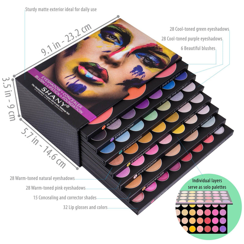 SHANY The Masterpiece 7 Layers All In One Makeup Set - HOLIDAY GIFT SET -  - ITEM# SH-7L - The SHANY Masterpiece 7-Layer Makeup Set is an all-in-one makeup kit with removable and interchangeable layers of face and eye palettes. The first layer, SHE'S NOT SHY, holds six large blush shades ranging from rosy pinks to