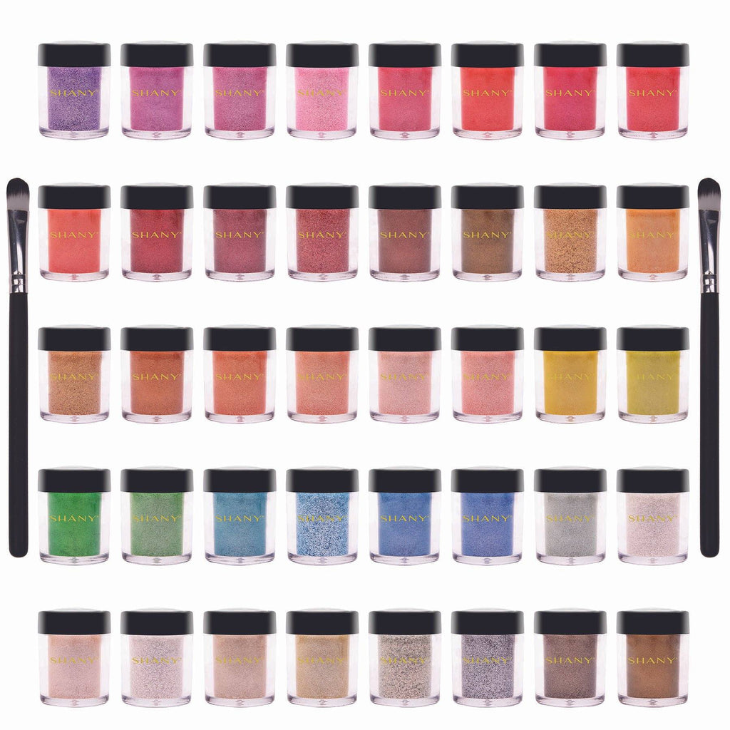 SHANY Loose Pearl Eye Shadow Glitter in Favorite Colors with Two Shadow Brushes - Set of 40 colors - SHOP  - EYE SHADOW SETS - ITEM# SHANY40LP