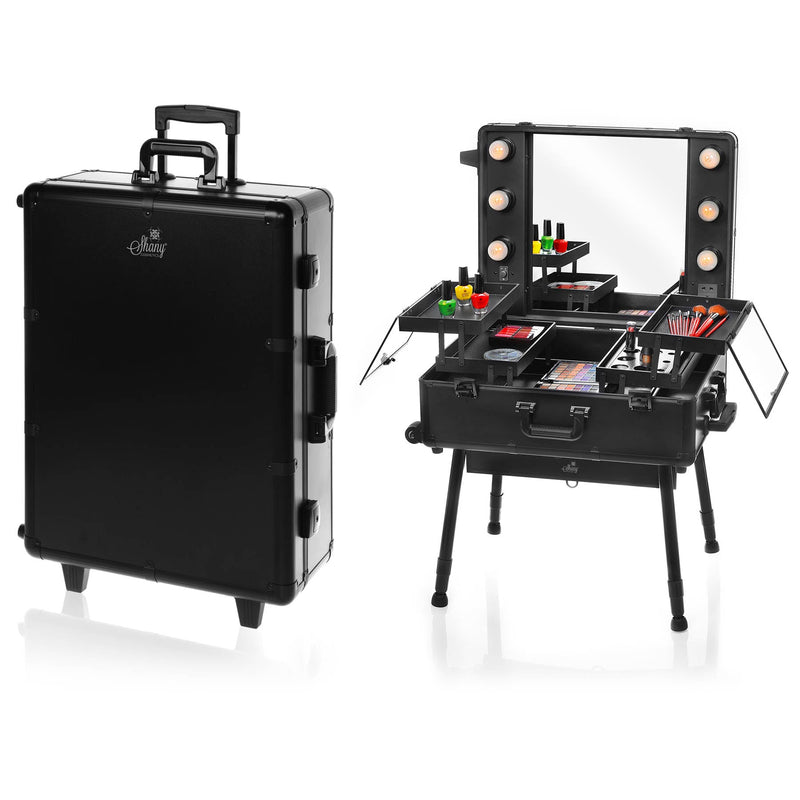 SHANY Studio ToGo Wheeled Trolley Makeup Case & Organizer with Light - BLACK - ITEM# SH-CC0023-PARENT - This top of the line professional makeup case has many features that make it stand out from the rest. Lightweight and easy to carry around is just the beginning. The case is made of aluminum and interchangeable tray