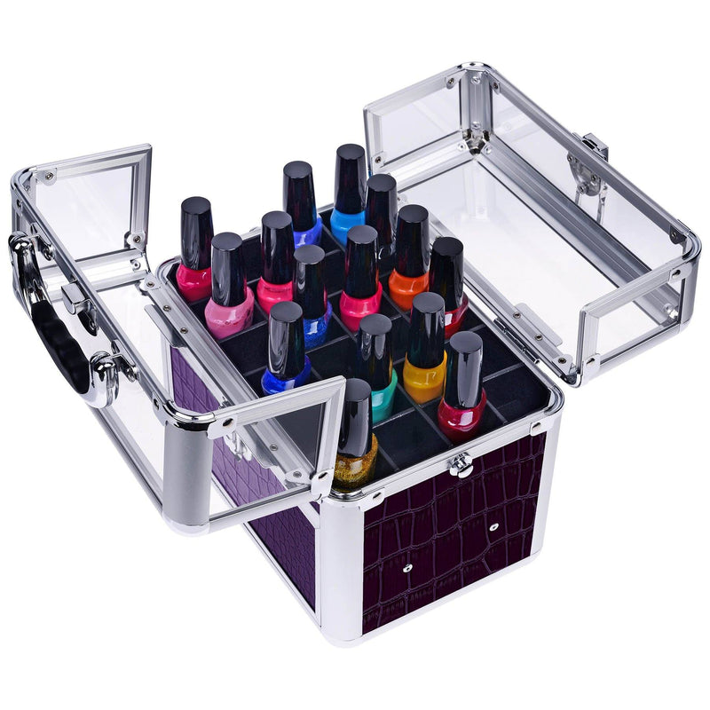 "SHANY Studio Quality Clear Top Nail Polish/Nail Accessories Organizer - Purple - PURPLE - ITEM# SH-C007-PR - <span style=""""><span style=""font-family: arial,sans-serif;""><span style=""font-size: 10pt;"">The SHANY Studio Quality Clear Top Nail Polish/ Nail Accessories Organizer is the perfect case for any nail art enthusi"