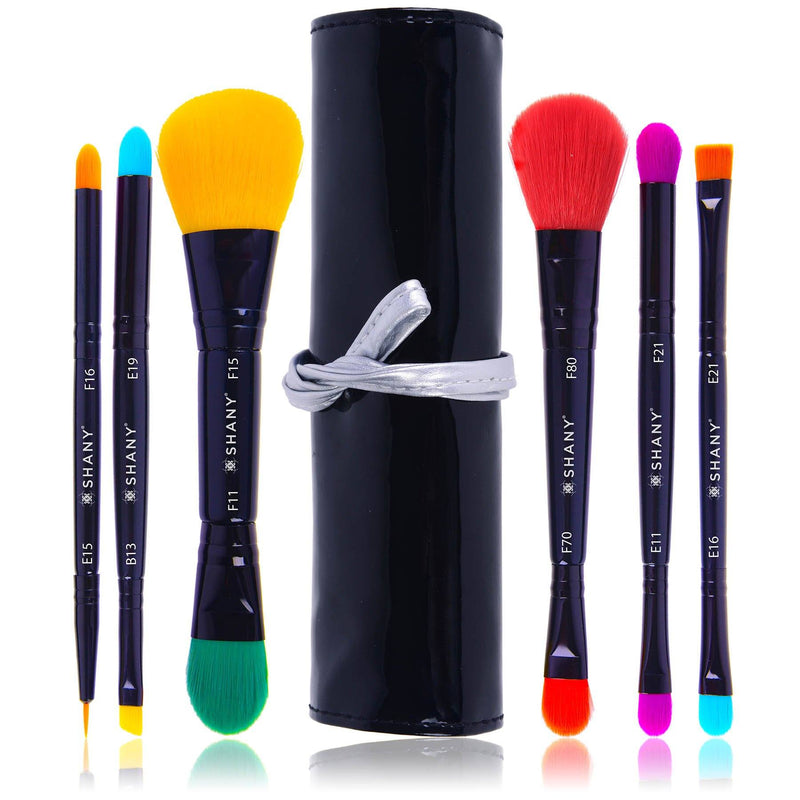 SHANY LUNA 6 PC Double Sided Travel Brush Set with Pouch - Synthetic - SHOP  - BRUSH SETS - ITEM# SH-BR001