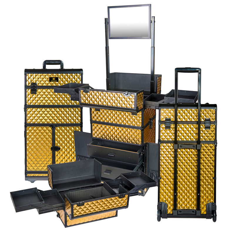 SHANY REBEL Series Pro Makeup Artists Rolling Train Case Trolley Case Gold - GOLD - ITEM# SH-REBEL-GL - SHANY cases are known to be incredibly useful and incredibly trendy. The Rebel Collection is no exception. This case was developed with the feedback and suggestions from our #SHANYnation. This is made for profession