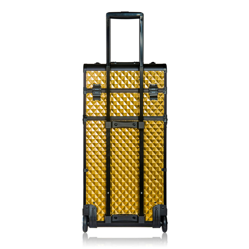 SHANY REBEL Series Pro Case - Radiant Gold - GOLD - ITEM# SH-REBEL-GL - Best seller in cosmetics ROLLING MAKEUP CASES category