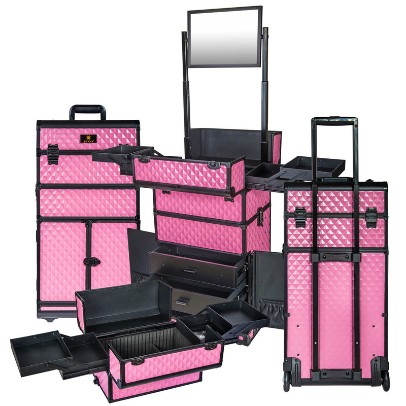 SHANY REBEL Series Pro Makeup Artists Rolling Train Case Trolley Case Pink - PINK - ITEM# SH-REBEL-PK - SHANY cases are known to be incredibly useful and incredibly trendy. The Rebel Collection is no exception. This case was developed with the feedback and suggestions from our #SHANYnation. This is made for profession
